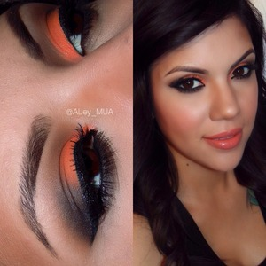 "Here is a closer look from yesterdays post, the bright orange is from the palette ""take me to brazil"" from  @bhcosmetics i used a black matte on the outer corner and blend it ""maybe later"" witch is a soft brown by @nyxcosmetics the eyelashes are ""demi 120"" by @ardell_lashes to fill in my brows i used the shade ""dark brown"" from the brow pro palette by @anastasiabeverlyhills  #ardellipsy #demi120 #anastasiabeverlyhills #anastasiabrows #aley_mua I will post more details of the face and lip on a different post"