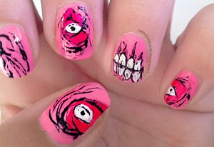 My Iron Fist Zombie nail art in pink for this years Halloween.