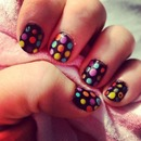 black and rainbow spots