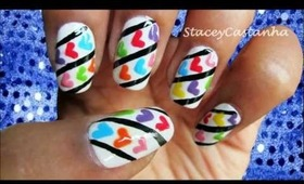 Rainbow Hearts | Nail art tutorial