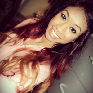 Red ombre hair color with blonde ends