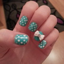 Turquoise polka dot and bow nails :)
