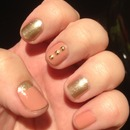 Simple pink and gold nails