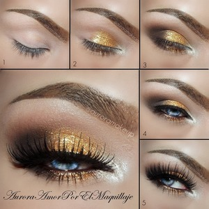 "Instagram @auroramakeup BROWS: Brow Wiz in SOFT BROWN and Perfect Brow Pencil in TAUPE, Tinted Brow Gel in BLONDE  All by #AnastasiaBeverlyHills  1. Apply Eye Shadow Base by #motives 2. Highlight innercorner with eyeshadow NYLON by #mac and pigment SE08 by #adaraparis apply on the center of the eyelid (top and below the eye) Glitter Adhesive by #motives and place pigment SE10 by #adaraparis 3. Place Eye shadow HOT CHOCOLATE and ONIX on the ""V"" by #motives and blend them it out highlight brow bone with more NYLON  by #mac 4. Line top lashes with Gel liner in BLACK by #adaraparis and in the waterline use Jumbo Pencil in MOCHA by #NYXcosmetics as base and  HAZELNUT by #motives in the top blending a little 5. Add lashes NOIR FAIR in BLACK by #HOUSEOFLASHES and black mascara by #zanzusi  FACE: Use Color Perfection Quad in LIGHT by #motives Set it with Full Coverage Photo Finish in NEUTRAL LIGHT by #motives"