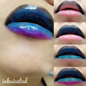 this is how i did the galaxy lips for those who asked. enjoy.   1. apply mac orpheus on the upper lip (it has tiny glitters on them which will later on serve as stars)  2. apply mac hyacinth under orpheus  3. apply mac minted on the lower upper lip  4. apply mac magenta on the bottom lip  5. purse lips  6. apply lip gloss in a dabbing motion  7. clean the edges with a concealer  8. smile & take a photo