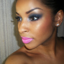 Navy smokey eye bright pink lips