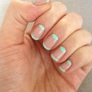 Mint and nude French Mani with half moons