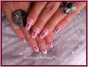 TRIBAL PINK FRENCH TIP NAIL ART INSPIRED BY MELYNE NAIL ART.