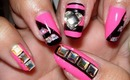 Easy Hot Pink and Black Nails!!