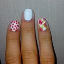 white nails / flowers / red dots