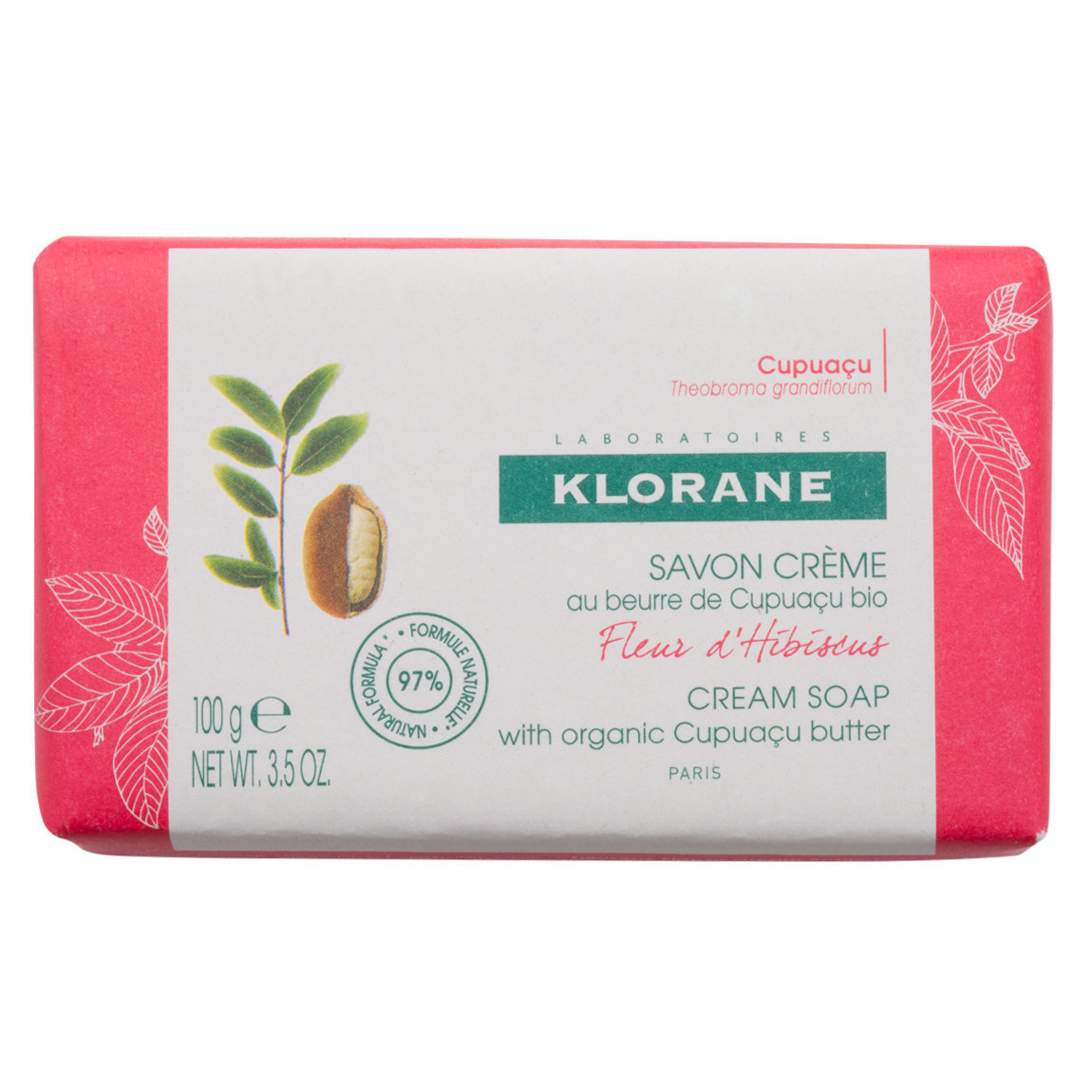 Klorane Hibiscus Flower Cream Soap with Cupuaçu Butter product swatch.