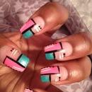 Pink/Green Block nails