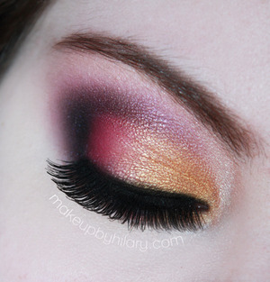 Gold and pink look using Makeup Geek, Urban Decay, and Sleek Makeup products.