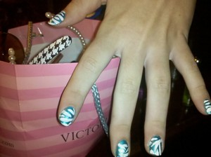 Zebra stripe nails on my friend Sydney