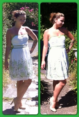 I got this dress last summer for $6 and the shoes recently for $14. I have tan lines and a sun burn. Lol
