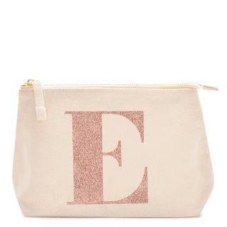 Rose Gold Glitter Initial Makeup Bag Letter E