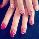 red and white base gel nails