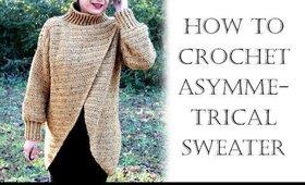 Crochet Asymmetrical Cardigan Sweater