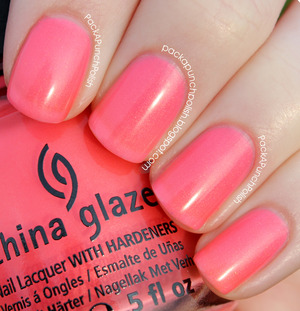 Pink Plumeria is a light pink shimmer. It's part of the Summer Neons Collection. This is 2 coats without top coat.  Full Blog Post: http://packapunchpolish.blogspot.com/2012/12/china-glaze-pink-plumeria.html