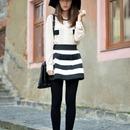 ROMWE Stripeed Puff Black Skirt