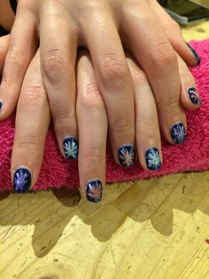 Fireworks, new year nails! Gel polish, hand painted,