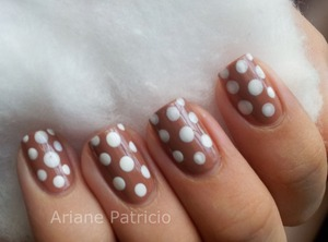 I used Orly Coffee break and added white dots :)
