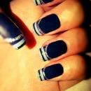 black stripe tip nails