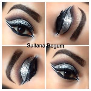 Dramatic cut crease using silver glitter