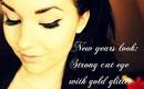 New Years Makeuplook: Bold cateye with goldglitter