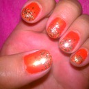 Orange with Gold Glitter Gradient Tips