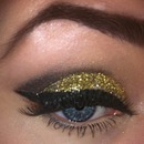 smoky black and glitter eye