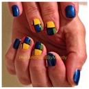 Early 1900's Dutch painter Piet Mondrian inspired nail art