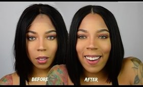 HOW TO APPLY LACE FRONT WIG No glue, tape, or sewing | My First Wig Review | Wig Transformation