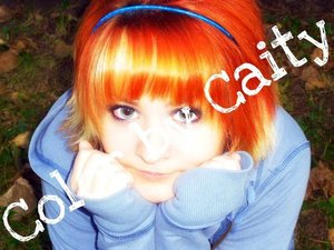 Bright orange, with a blonde bang. Perfect for Fall ;)