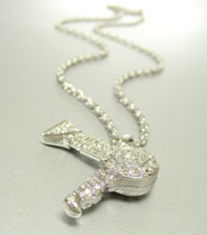 Silver Crystal Blow Dryer Necklace
