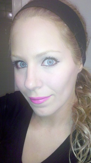blue eyes. pink lips (flash made me look ghostly)