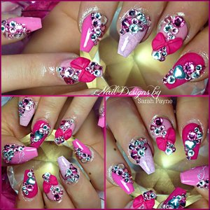 Girly cute barbie coffin nails with 3D sculpted bows and bling