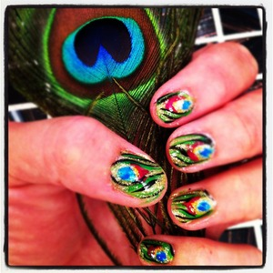 Peacock feather inspired nail polish