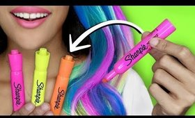 How To Make DIY HAIR DYE With SCHOOL SUPPLIES!! GLOW IN THE DARK HAIR!
