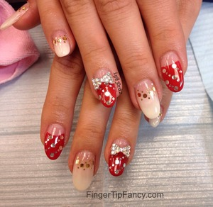 DETAILS HERE - http://fingertipfancy.com/red-white-silver-gold-nails