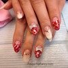 Red white silver gold nails