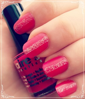Pink nails with glitter :)