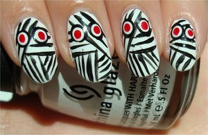 Nail tutorial & more photos here: http://www.swatchandlearn.com/nail-art-tutorial-mummy-nails/