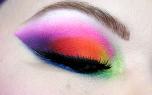 eye close up of the makeup from my Midnight Rainbow tutorial