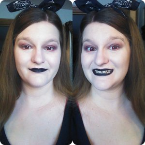I dressed up as a witch. I don't have any pictures of my costume at the moment, but here's the makeup! My co-worker dressed up as my black cat. It was fun! :)  Product(s) not tagged: Maybelline color tattoo Leather series in Creamy Beige 80