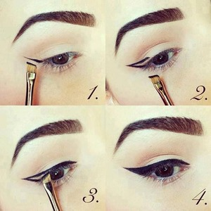 """From http://www.stylemotivation.com/23-gorgeous-eye-makeup-tutorials/ - Tape as well helps to perfect your Wing, what you do is in step one apply the tape from outer lower lash line, angling the tape where you want the line to go. Apply the """"Wing"""" part by following the line  that the tape created"""