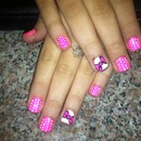 pink and white polka dot and bow