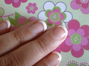 French Manicure made with Essences' French Tips. For a review and more pictures, please go to; http://nailsbystephanie.blogspot.com/2011/05/essence-studio-nails-french-tips.html
