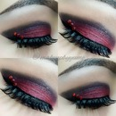 Dramatic red makeup