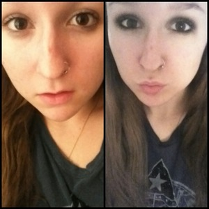 my makeup before and after :)